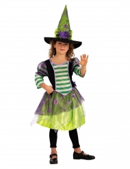 Disfarce bruxa aranha com chapéu verde menina