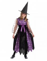 Disfarce bruxa pequenas aranhas com chapéu preto e roxo menina
