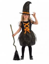 Disfarce bruxinha fofinha brilhante com chapéu menina