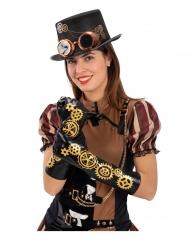 Luvas preto steampunk engrenagens 56 cm adulto