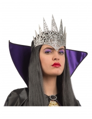 Meia coroa rainha prateado brilhante adulto