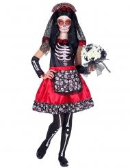 Disfarce Dia de los Muertos preto e vermelho criança