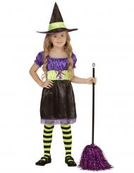 Disfarce bruxa preta, amarela e lilás criança