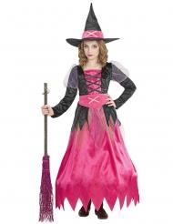 Disfarce linda bruxa cor-de-rosa menina