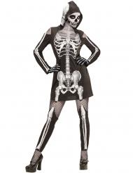 Disfarce esqueleto com perneiras mulher