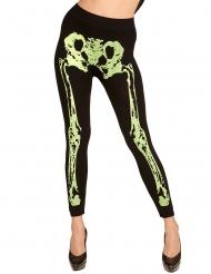 Leggings esqueleto verde fluorescente mulher
