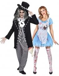 Disfarce casal Alice e Chapeleiro louco gótico adulto