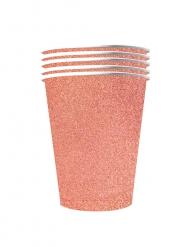 10 Copos americanos cintilante cartão reciclável rosa gold 53cl