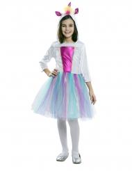 Disfarce vestido com capuz unicórnio menina