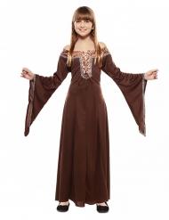 Disfarce vestido dama medieval castanho criança