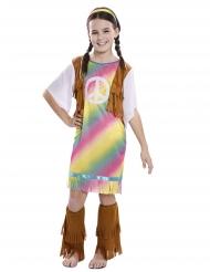 Disfarce vestido hippie arco-íris menina