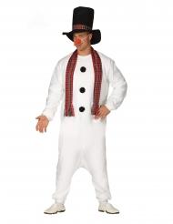 Macacão pijama boneco de neve adulto