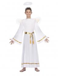 Disfarce anjo branco cinto dourado criança