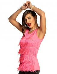 Top com franja cor-de-rosa mulher