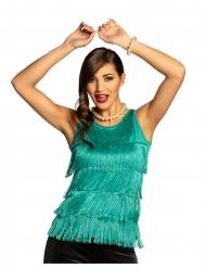 Top com franja azul turquesa mulher