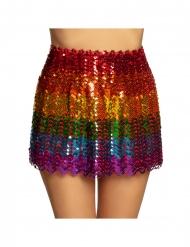 Saia com lantejoulas arco-íris mulher