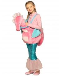 Disfarce sereia com hipocampo rosa criança