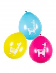 6 Balões de látex lama multicolores 25 cm