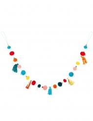 Grinalda de pompons multicolores 125 cm