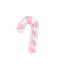 Balão alumínio bangala de açúcar branco e cor-de-rosa 46 x 74 cm