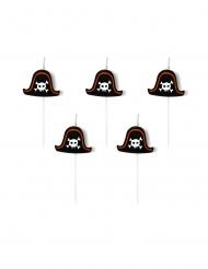 5 Velas de aniversário em palito chapéu de pirata 2 cm