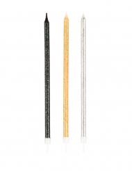 12 Grandes velas brilhantes preto, dourado e cinzento 15 cm