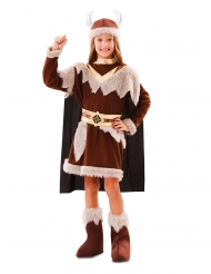Disfarce viking castanho menina