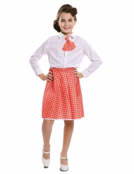 Saia e gravata pin-up vermelho menina