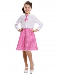 Saia e gravata pin-up cor-de-rosa menina