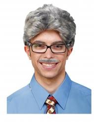 Peruca e bigode cinzento adulto