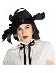 Chapéu preto com penas mulher