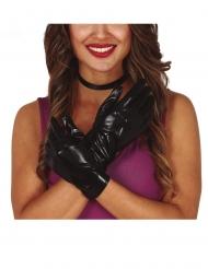 Luvas efeito couro preto 22 cm mulher
