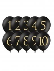 10 Balões de látex dígito 1 até 10 preto e dourado 30 cm