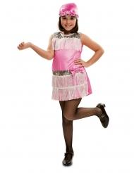 Disfarce com touca charleston rosa menina
