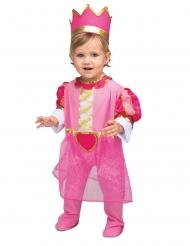 Disfarce com coroa princesa cor-de-rosa bebé
