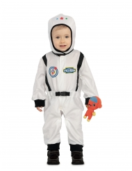 Disfarce astronauta com pequeno extraterrestre bebé