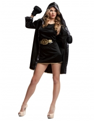 Disfarce boxeadora com luvas pretas mulher