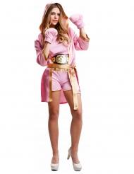 Disfarce boxeadora com luvas cor-de-rosa mulher