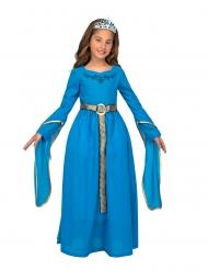 Disfarce com tiara princesa medieval azul menina