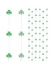 6 Decorações de suspender cortina trevos verdes 180 cm