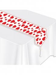 Caminho de mesa branco corações vermelhos 28 cm x 1,82 m