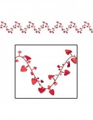 Grinalda de plástico adaptável corações vermelhos 7 m