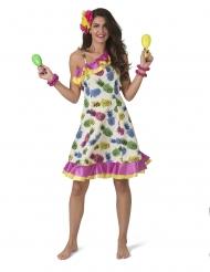 Disfarce vestido com padrão ananás mulher