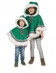 Poncho esquimó verde criança