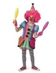 Disfarce de palhaço alegre arco-íris menina