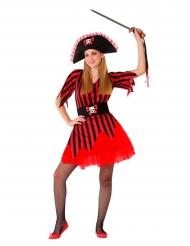 Disfarce pirata vermelho adolescente
