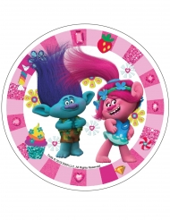 Disco em ázimo Trolls™ rosa 21 cm