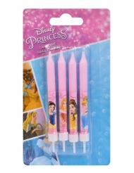 4 Velas de aniversário Princesas Disney™ rosa 9 cm