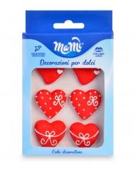 6 Corações pequenos decorativos em açúcar vermelho 3 cm