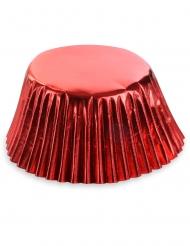 50 Formas de cupcakes em papel vermelho metalizado 7 cm
